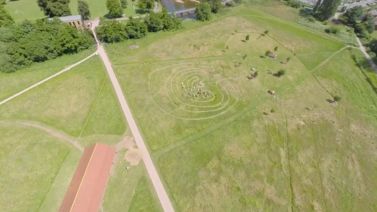 labyrinth in Longrun Meadow, Taunton, aerial photo by Jon Beard