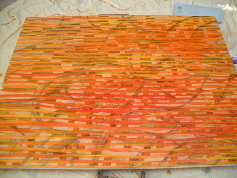 'Shine' (work in progress), Add oil paint yellow, 2009