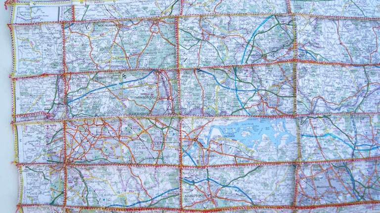 'But It Won't Get You Anywhere', (detail), map pieces & stitching on paper, 29 x 77 cm, 2013