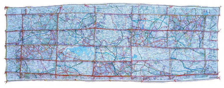 'But It Won't Get You Anywhere', map pieces & stitching on paper, 29 x 77 cm, 2013