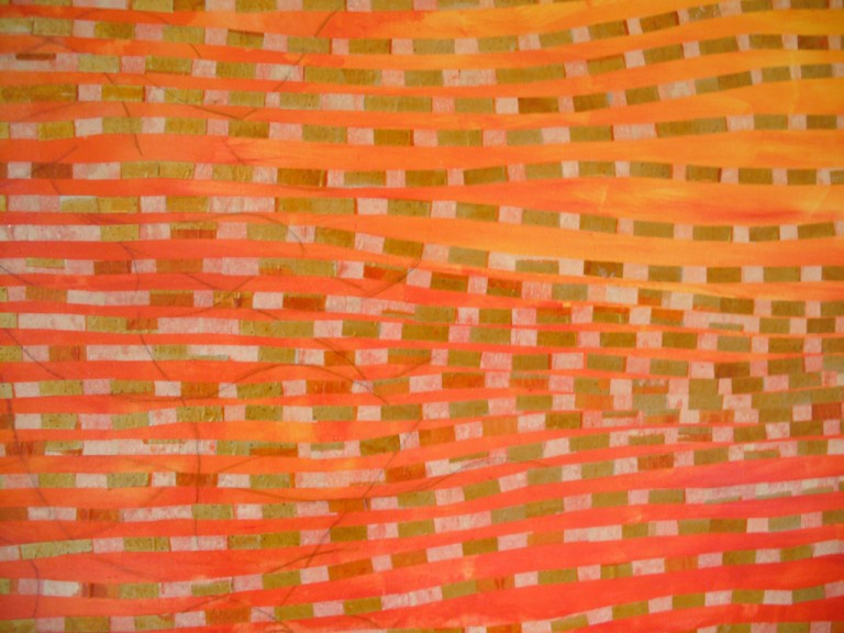 'Transforming the Light' (detail), abstract painting in orange and yellow with gold jos paper elements - pigments, acrylics & jos papers on canvas, 110 x 110cm, 2009