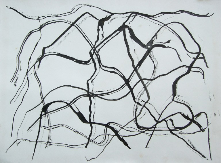 'Walking the Line', ink on paper, 35 x 26cm, 1994