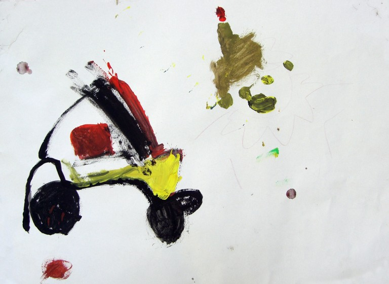 child's painting of a car by Theo Rumney Hunt