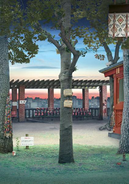 Emily Allchurch: 'Tokyo Story 6: Shrine (after Hiroshige)', 2011. Transparency on lightbox 116.4 x 81.5cm