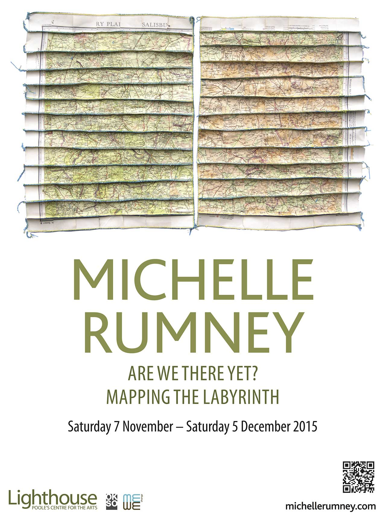 Poster for exhibition at Lighthouse Poole by Michelle Rumney - Are we there yet? Mapping the Labyrinth""