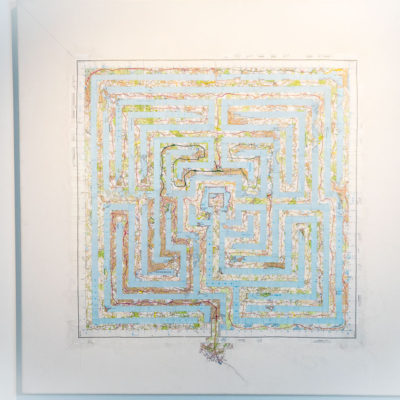 shortlisted titles in the competition to name an artwork, next to labyrinth collage by Michelle Rumney at Lighthouse Poole