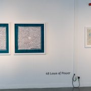 Lighthouse Gallery view 'The 48 Laws of Power: 1-25 (concise edition)' - by Robert Greene - his bestselling book - diptych artwork by Michelle Rumney