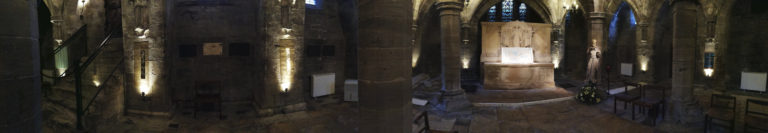 panorama artwork on show in the Crypt by artist Michelle Rumney in the nave of Hereford Cathedral Re-Making Maps of the Mind: Medieval and Modern Journeys exhibition