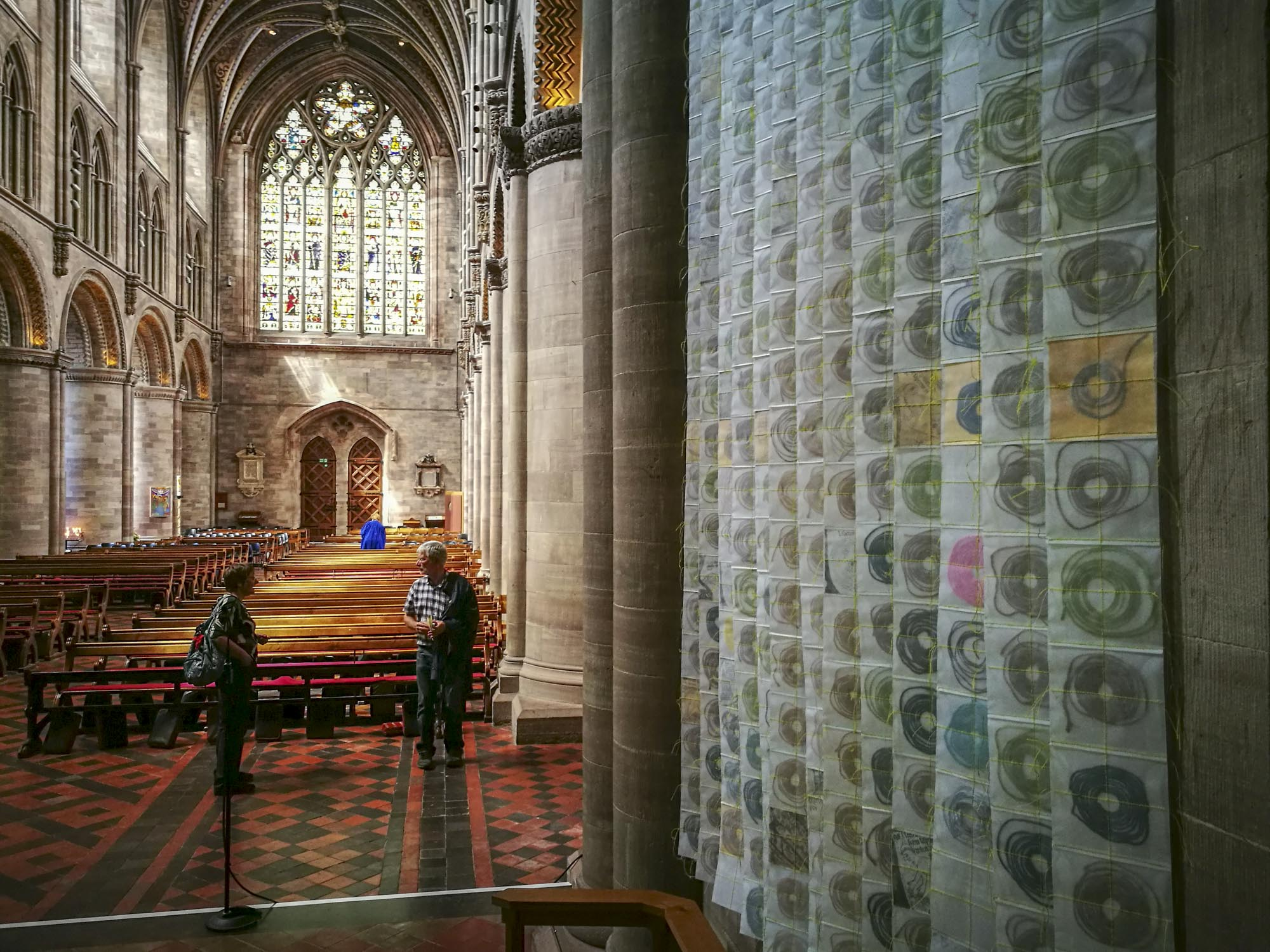 artwork 'Map of Mundi' by artist Michelle Rumney in the nave of Hereford Cathedral Re-Making Maps of the Mind: Medieval and Modern Journeys exhibition