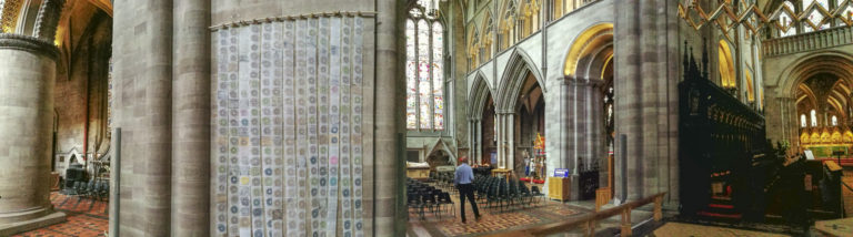 panorama artwork 'Map of Mundi' by artist Michelle Rumney in the nave of Hereford Cathedral Re-Making Maps of the Mind: Medieval and Modern Journeys exhibition