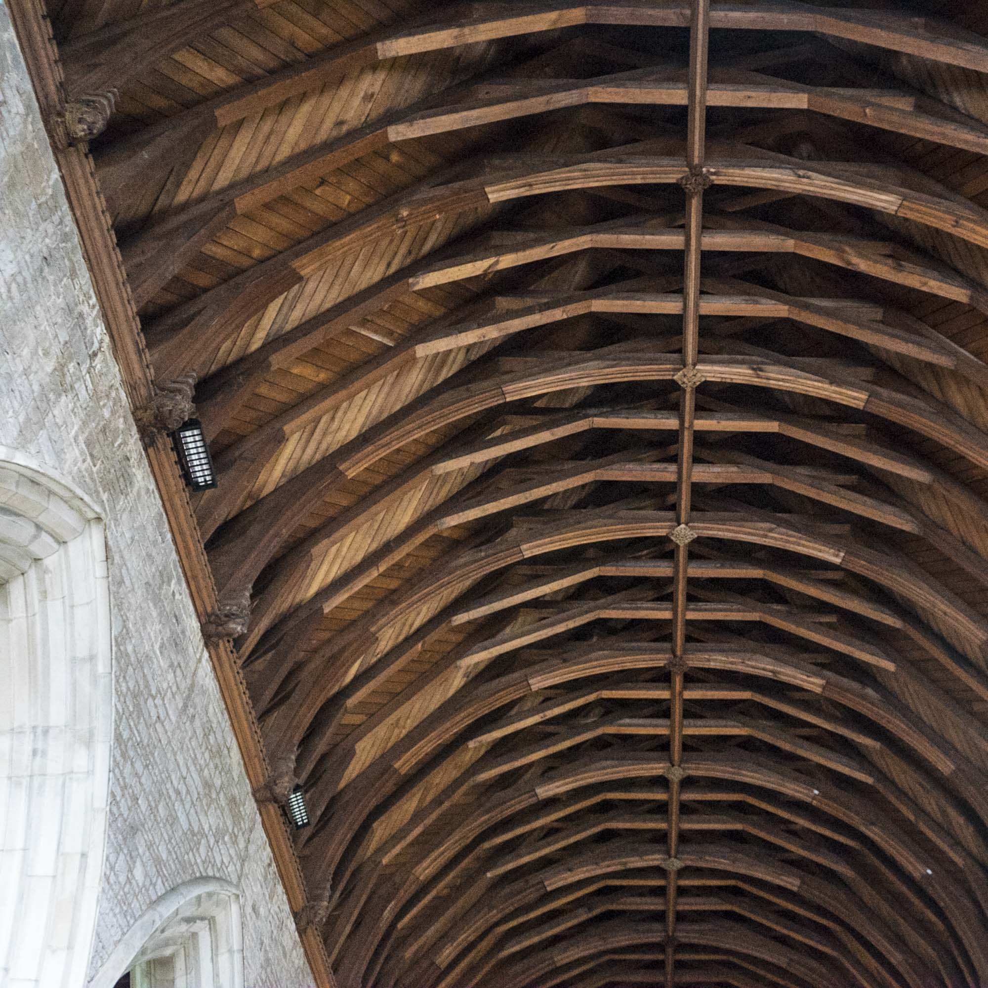 ceiling of St Marys Priory Church Abergavenny in Wales - part of the St Thomas Way