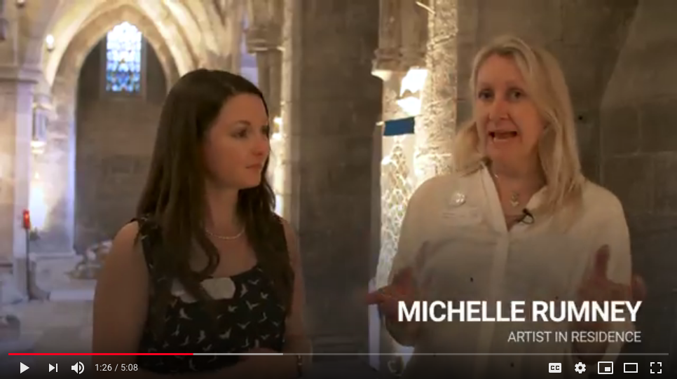 Still from St Thomas Way Launch event film showing Research Fellow Chloe MacKenzie & artist Michelle Rumney