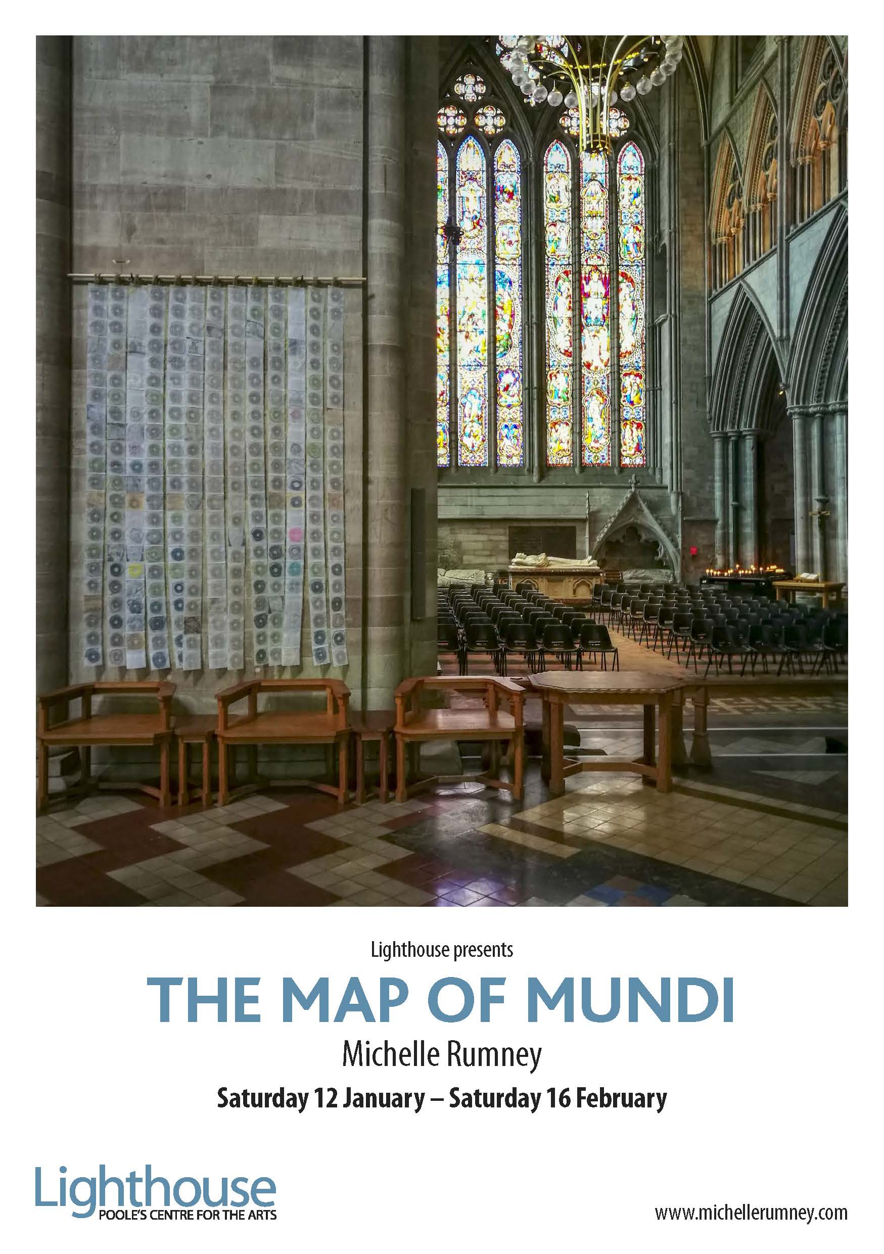The Map of Mundi flyer advertising exhibition by artist Michelle Rumney and St Thomas Way at Lighthouse Poole's Centre for the Arts, Dorset