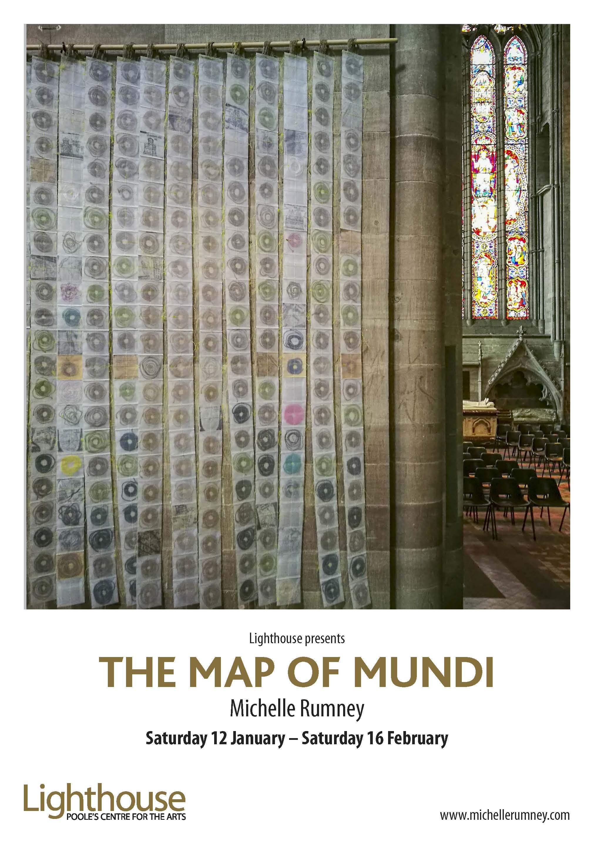 The Map of Mundi exhibition at Lighthouse Poole's Centre for the Arts showing artwork in Hereford Cathedral