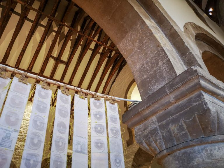 Newport Cathedral Exhibition Medieval & Modern Journeys for St Thomas Way by artist Michelle Rumney
