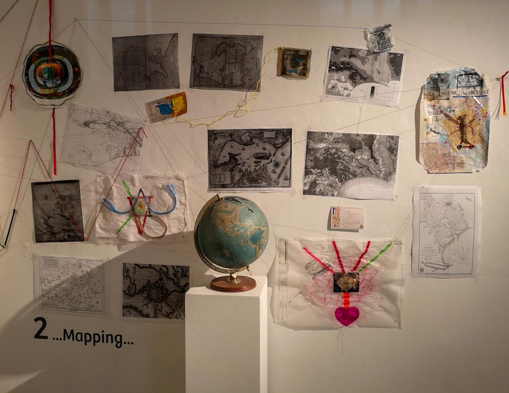 Medieval and Modern Mapping art exhibition and workshops by artist Michelle Rumney at Lighthouse Pooles Centre for the Arts