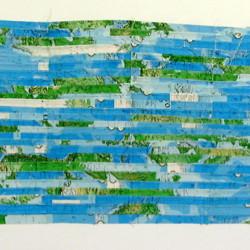 'El Mundo' (The World), map pieces & stitching on gesso on canvas, 214 x 100cm, 2001