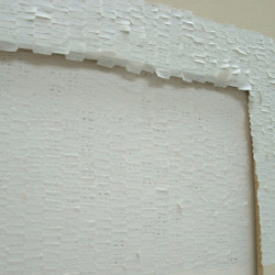 '2-7k', adhesive labels on board on wall, 161 x 244 x 14cm, 2002