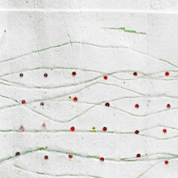 'Conversacion IV', glass beads, thread & tissue paper monoprint on paper, 37 x 28cm, 2002