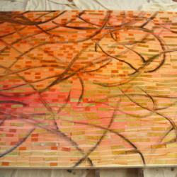 'Shine' (work in progress), Adding ink swirls, 2009