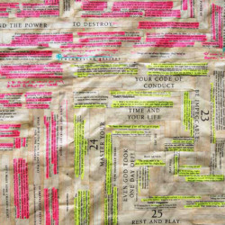 'Awaken the Giant Within', (detail), Greek meander maze pattern, book pages on paper, 170 x 149 cm, 2013