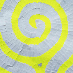 'Das Indische Labyrinth', (detail), contemporary mixed media artwork made of adhesive labels, paper, fabric, 112 x 112 cm, 2013