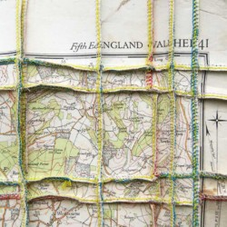 'I.O.W.', (detail), map pieces & stitching on paper, 64 x 77 cm, 2013
