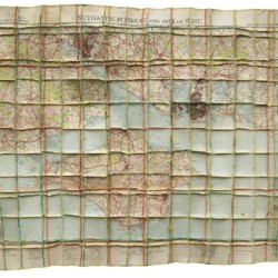 'I.O.W.', map pieces & stitching on paper, 64 x 77 cm, 2013