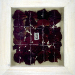 Guadalupe I - mixed media artwork - rose petals & stitching on paper, Mexico, 1996