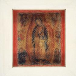 'Dios Habla Hoy' (God Speaks Today), pin pricks on plastic on postcard, 1996