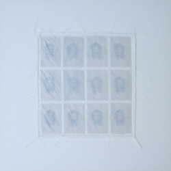 'Faces of Christ', tissue paper & stitching on paper, 1996
