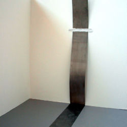 '1k', adhesive lables on stainless steel, 35 x 244 x 162cm, 2002
