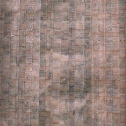 'Lady Ermintrude & The Plumber', varnish, book pages & stitching on paper, 40 x 120cm, 1999