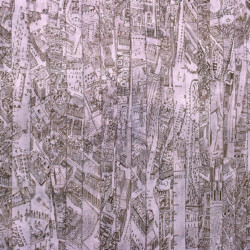 'Madrid', map pieces & stitching on paper and Indian guaze, 1999