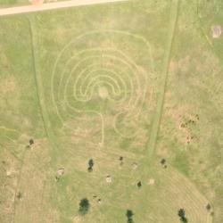 labyrinth in Longrun Meadow, Taunton, aerial photo by Jon Beard