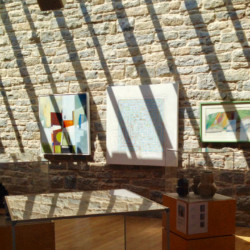 "gallery view from DVA exhibition ""Interrogating Projects"" 2016 at Durlston Castle, including artwork by Michelle Rumney"