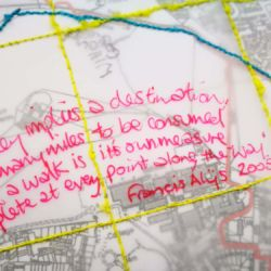 artwork for Arts Taunton by Michelle Rumney stitched map of Taunton, part of a new residency project