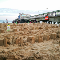 Beach labyrinth on the sand for Arts by the Sea festival by artist Michelle Rumney