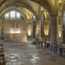 artwork on show in the Crypt by artist Michelle Rumney in the nave of Hereford Cathedral Re-Making Maps of the Mind: Medieval and Modern Journeys exhibition