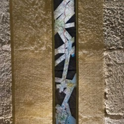 artwork on show by artist Michelle Rumney in the crypt of Hereford Cathedral Re-Making Maps of the Mind: Medieval and Modern Journeys exhibition