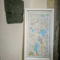 'From Me to You' artwork hanging in the chapel of St Marys Priory Church Abergavenny in Wales - part of the St Thomas Way