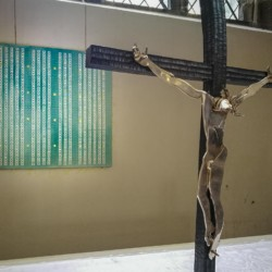 'There is No Away' artwork hanging in the chapel of St Marys Priory Church Abergavenny in Wales - part of the St Thomas Way