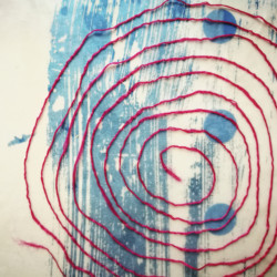 Blue dot Spiral artwork by Michelle Rumney from the St Thomas Way Swansea to Hereford 2018
