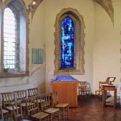 panorama image of exhibition Re-Making Maps of the Mind: Medieval and Modern Journey in St Marys Church Swansea