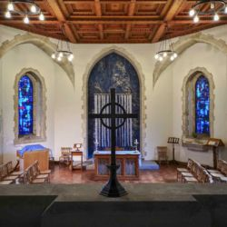 image of The Holy Trinity Chapel in St Marys Swansea with the exhibition Re-Making Maps of the Mind - Medieval and Modern Journeys