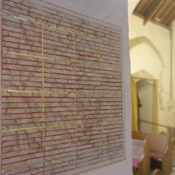 artwork in St Illtuds Llantwit Major in the St Thomas Way exhibition Re-Making Maps of the Mind - Medieval and Modern Journeys by artist Michelle Rumney